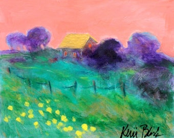 "Small Original Landscape Painting, Abstract Country Scenery, Colorful Acrylic Artwork, ""Evening Breeze"" 10x8"""