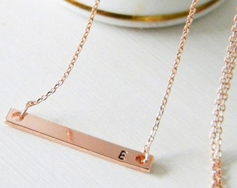 Rose Gold Skinny Bar Initial Necklace