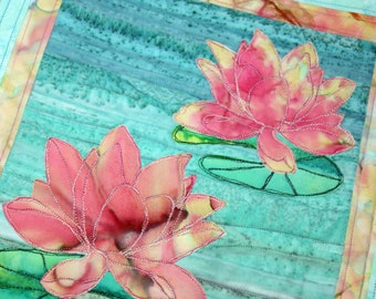 Batik Water Lillies Quilted Wall Hanging / Art Quilt, Handmade by PingWynny