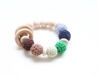 Teething toy with crochet brown, green, blue wooden beads and 2 wooden rings. Wooden rattle. Gift for baby boy.