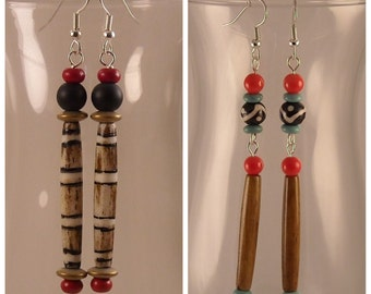Afrocentric Brown Black and Cream Bone Bead Dangle Earrings with Magnesite and Hematite Beads