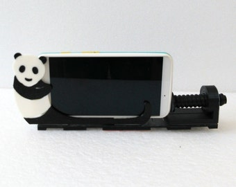 Car Holder Mount For Universal Cell Phone, GPS, Decorative - Adjustable - Panda Shape - Two Base Colors - 3D Print