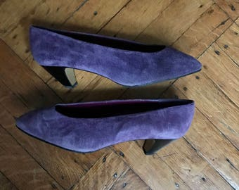 1980s Purple Suede Pumps
