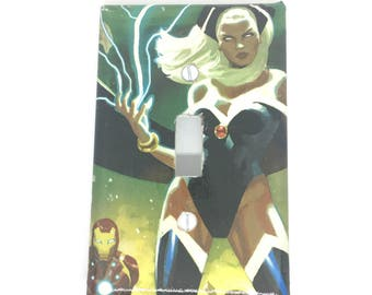 Upcycled Comic Book Light Switch Cover - Storm