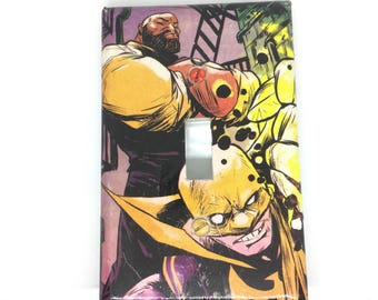 Upcycled Comic Book Light Switch Cover - Luke Cage and Iron Fist