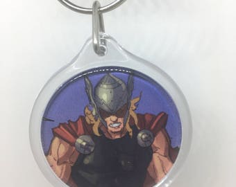 Upcycled Comic Book Keychain Featuring - Thor