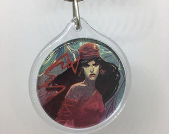 Upcycled Comic Book Keychain Featuring - Elektra