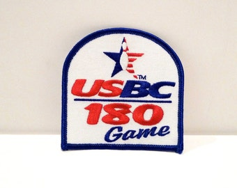 Bowling Patch Vintage USBC 180 Game Award Patch United States Bowling Congress Bowling League Shirt Patch Red White and Blue Bowling Pin