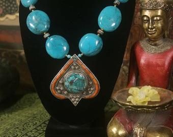 Tibetan Turquoise Necklace, Tibetan Pendant Necklace, Ethnic Necklace,  Tibetan Necklace, Turquoise and Coral Necklace Nepal Ethnic