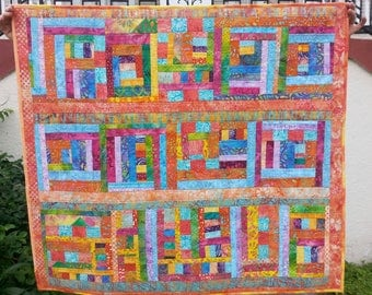CUSTOM ORDER ONLY large quilted wall hanging spring colors one of a kind modern art modern quilt art quilt painting