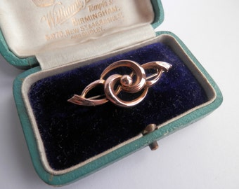 Victorian 9ct Gold Lovers Knot Brooch, Antique Rose Gold