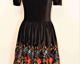 Bohemian Dress, Velvet Embroidery Dress, Urban Dress , Velvet Embroidery flower Dress , Cocktail flower Dress , Ethnic flower Dress