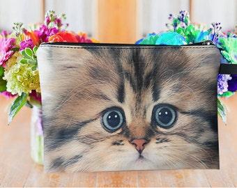 Cat pouch, cat purse, cat clutch, cat lover pouch, cat portrait pouch, cat makeup bag MK1612