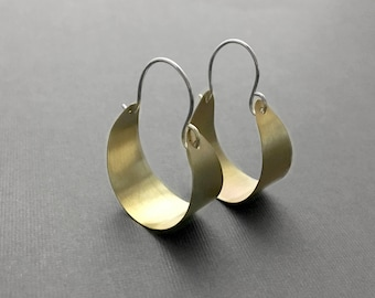 Brass Hoops with Sterling Silver Earrings Lightweight Casual Handmade Modern Simple Artisan Fashion