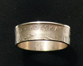 Brass Coin Ring 1986 Poland 5 Zlotych, Ring Size 8 or 8.5 and Double Sided