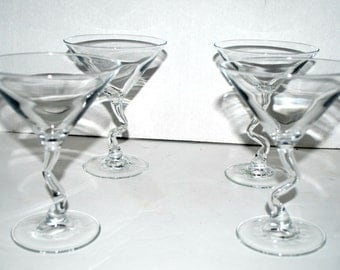 Martini  glasses Vintage Libbey crooked stem martini glasses set of 4