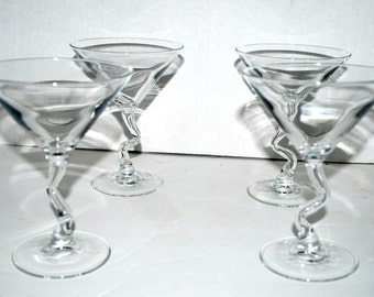 Plastic Frame Glasses Crooked : Martini glasses Etsy