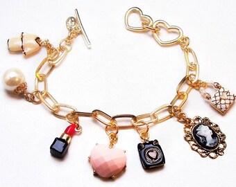 "Cookie Lee Charm Bracelet Lipstick, Heart, Handbag, Cameo Gold Links Toggle Clasp 8"" Vintage 90'ss"