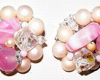 """Pink Cluster Clip On Earrings Signed Japan Glass Pearl & Crystal Beads Silver Metal 1"""" Vintage"""