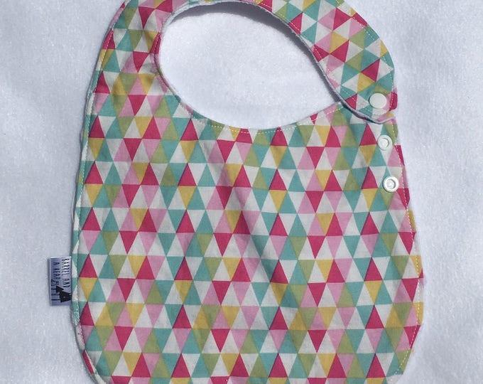 Triangle Adjustable Side Snap Bib with Minky Back