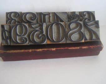 Vintage Wooden Number Stamp Set - Completed with Original Box