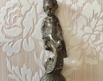 Sweet Little Decorative Victorian Era Cherub Metal Finial
