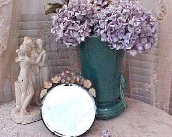Charming English Barbola Mirror with Original Painted Flowers