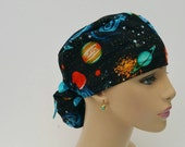 Ponytail Medical Scrub Cap -  To the Moon and Back - Cobalt Blue - 100% Cotton
