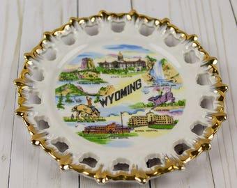Vintage Wyoming State Souvenir Kitschy Plate