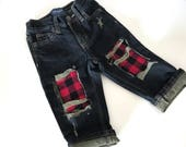 Distressed jeans toddler baby lumberjack plaid