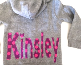 Personalized sweatshirt with monogram Baby or Toddler Hoodie and name for girls