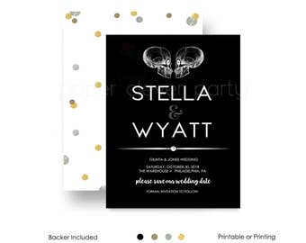 Gothic Wedding Save The Day Invitation Abstract, Black & White, Skull Ceremony Announcement Personalized Printable or Printing (SKULSAVEDAT)