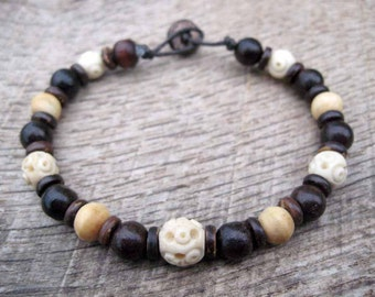 Mens surfer bracelet, Victorian era carved bone beads, bone, wood and coconut shell beads, toggle and loop clasp, handmade mens jewelry