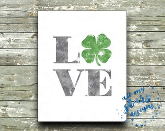 Watercolor Love Shamrock 8x10 Printable - Love Art Print - St. Patrick's Day Decor - Instant Download | Wall Art | St. Patty's Day