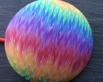 Colourful necklace - Rainbow colours - Domed Pendant - Polymer clay pendant