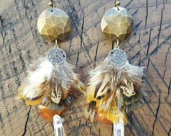 Pheasant Feather Crystal Quartz Drop Earrings