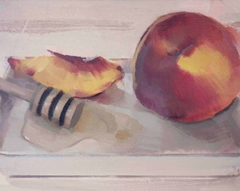 "Archival 8"" x 12"" Art Print / Free Shipping / Sliced Peaches and Honey Dipper (no.149) Oil Painting Realism Fruit Still Life"