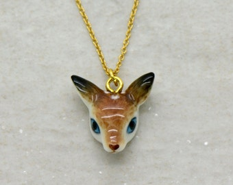 Hand Painted Porcelain Deer Fawn Head Necklace, 18 Inch Gold Chain, Ceramic Animal Pendant - CHRISTMAS SALE