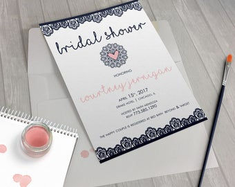 Lace Doily Navy Blush Bridal Shower Invitation by Design Me Sweet