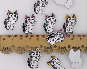 "30 PC Painted wood buttons 25mm - Wooden Buttons ,tree buttons, natural wood buttons ""cat"" A018"