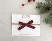 Holiday Bow - plaid bow - hand tied cotton bow - nylon headband - hair clip - Christmas