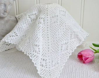 Crochet lamp shade cover , vintage Swedish seventies home decor , white crochet, 13 ""