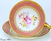 Aynsley Vintage Pink Teacup and Saucer Set With Pink Rose, English Bone China Tea Cup,  Replacement China, ca. 1960