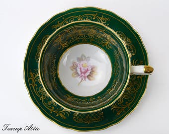Vintage Shafford Green Tri-Footed Teacup and Saucer Set with Pink Roses And Gold Trim, Japanese Porcelain Tea Cup, ca. 1940-1970