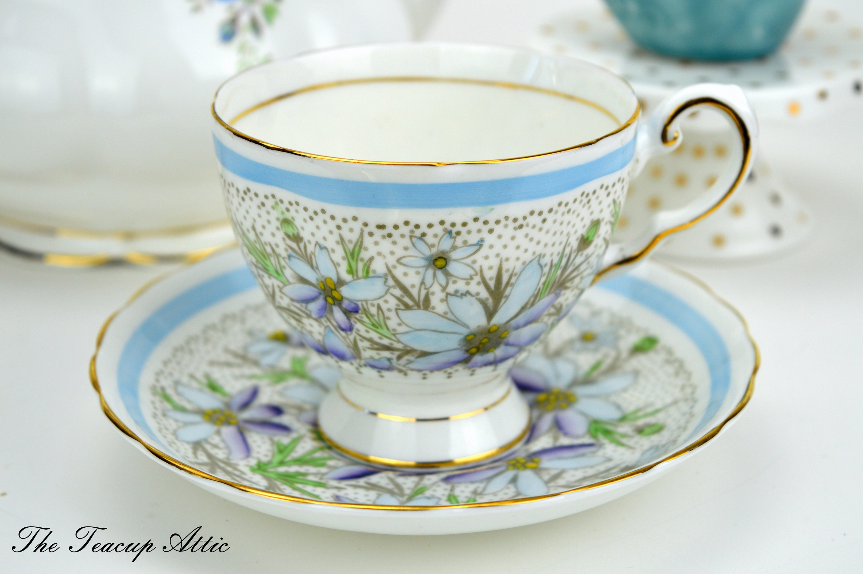 Tuscan Vintage Teacup and Saucer With Blue Flowers and Hand Painted Centers, English Bone China Tea Cup, Wedding Gift, ca. 1947
