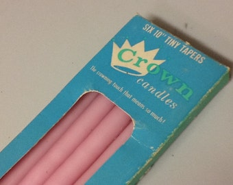 Taper Candles Pink Vintage Boxed 10""