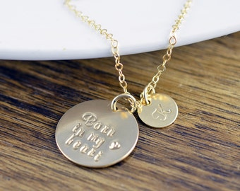 Adoption Gift, Adoption Necklace, Foster Parent, Born in my heart, Hand Stamped Necklace, Mommy Necklace, Mom Jewelry, Baby Shower Gift
