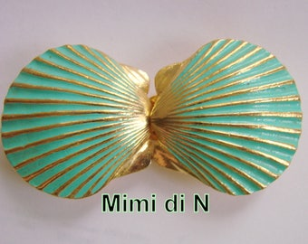 Rare MIMI di N Large Green Enamel Shell Goldtone Runway Belt Buckle Couture Jewelry Jewellery