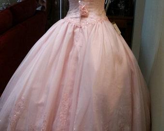 Pink Wedding Dress strapless and bolero jacket,Pink and White Wedding, Organza Pink Prom Dress, Prom Vintage Dress, Prom, XV Soft Pink Dress