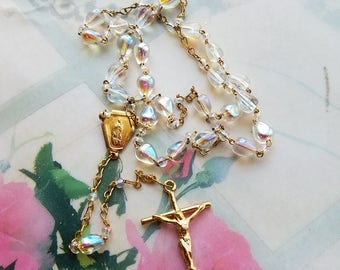 Communion Rosary iridescent beads,Baptism Rosary beads,Brides Rosary beads,Catholic Gift,Vintage Gold Rosary beads
